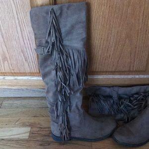 Justfab knee high fringe tan boots